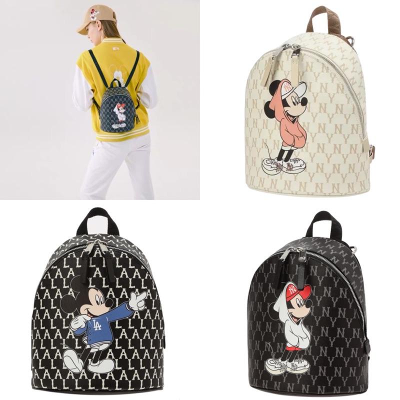 ✨3色實拍|MLB🇰🇷 2020迪士尼合作 米奇滿版後背包/兩用斜背包《韓國樂天代購》黑色道奇 米色洋基