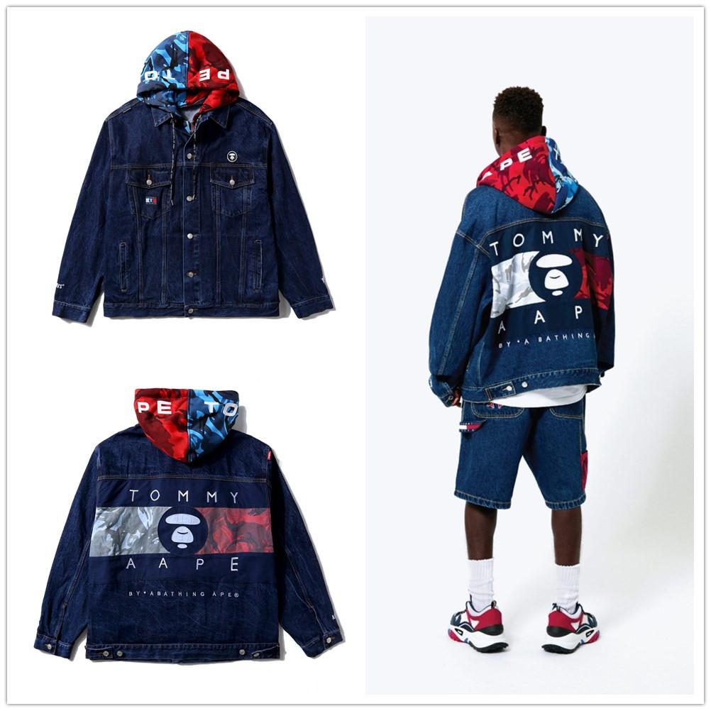 AAPE X TOMMY 聯名款假兩件牛仔夾克外套 丹寧外套 牛仔外套