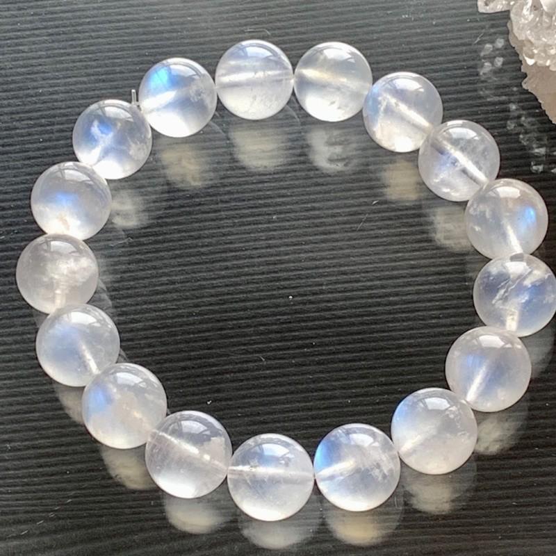 小極品-奶油體高透顆顆強藍光藍月光石12.5mm(單圈)手珠手鍊DIY串珠隔珠配珠•點點水晶•