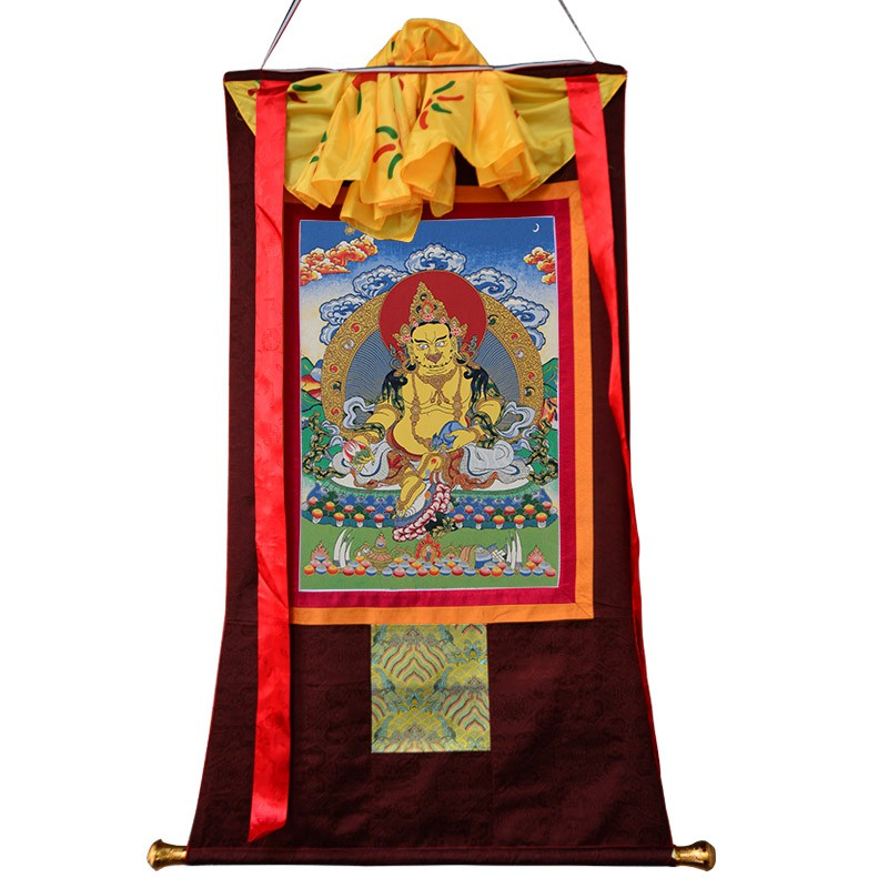 黃財神唐卡畫像客廳玄關尼泊爾刺繡手繪藏式A型佛像掛畫洁雅家居生活