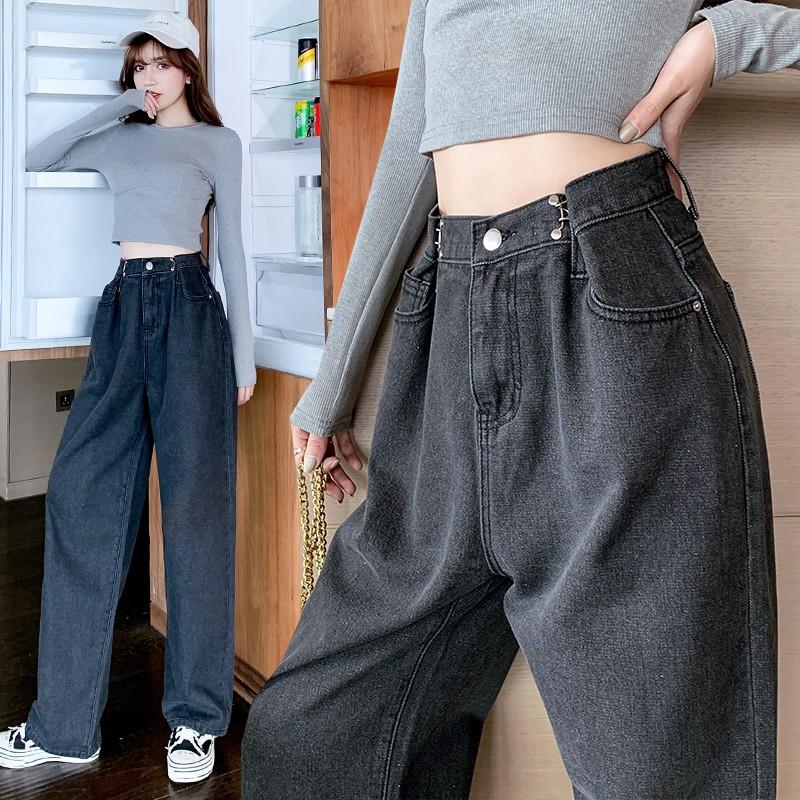 M-5XL 加肥加大老爹牛仔褲女2020秋裝胖mm高腰垂感拖地直筒闊腿褲200斤女生衣著 大碼上衣