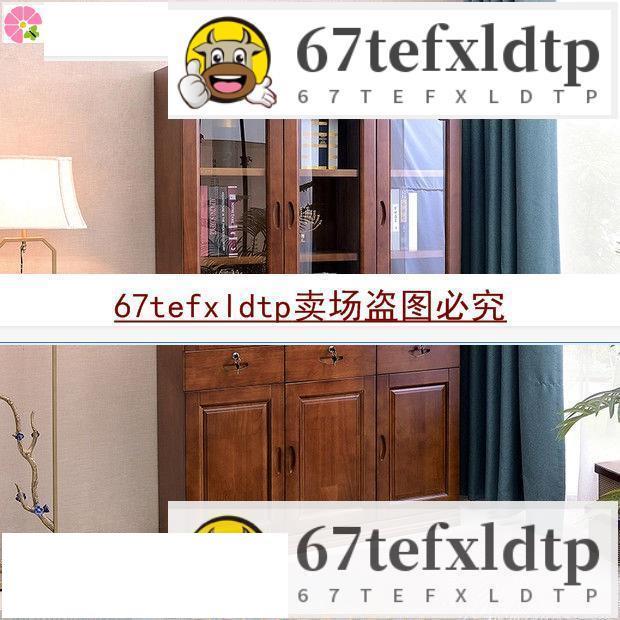 簡約現代中式實木書柜家用2門3門落地帶鎖帶玻璃門書房臥室展示柜