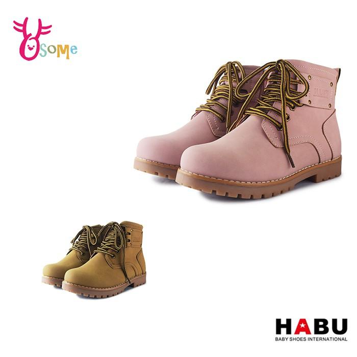2款 HABU童鞋 女童靴 童馬丁靴 皮革短靴 香蕉太太聯名 側邊拉鍊 軍靴 童靴 N8090.91 OSOME奧森鞋業