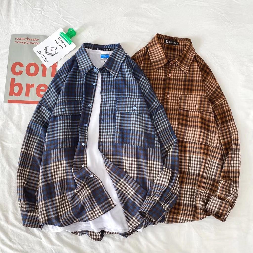 PSGB Taipei - N3-0006 吊染雙袋格長襯衫 - 韓系 - 現貨