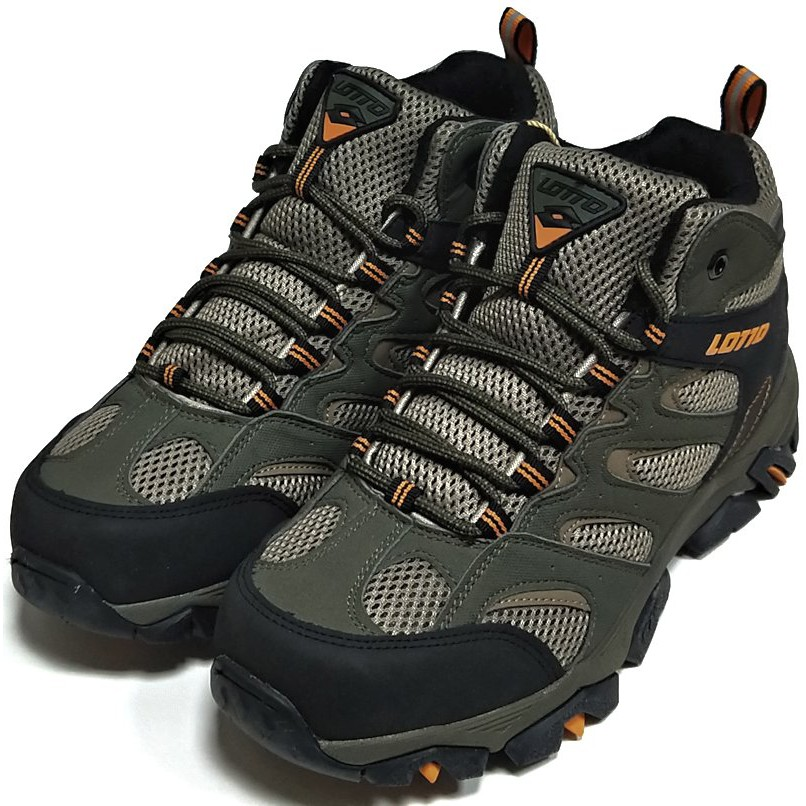 LOTTO 高筒郊山健行鞋 SabreMid防潑水 男段 綠 .灰