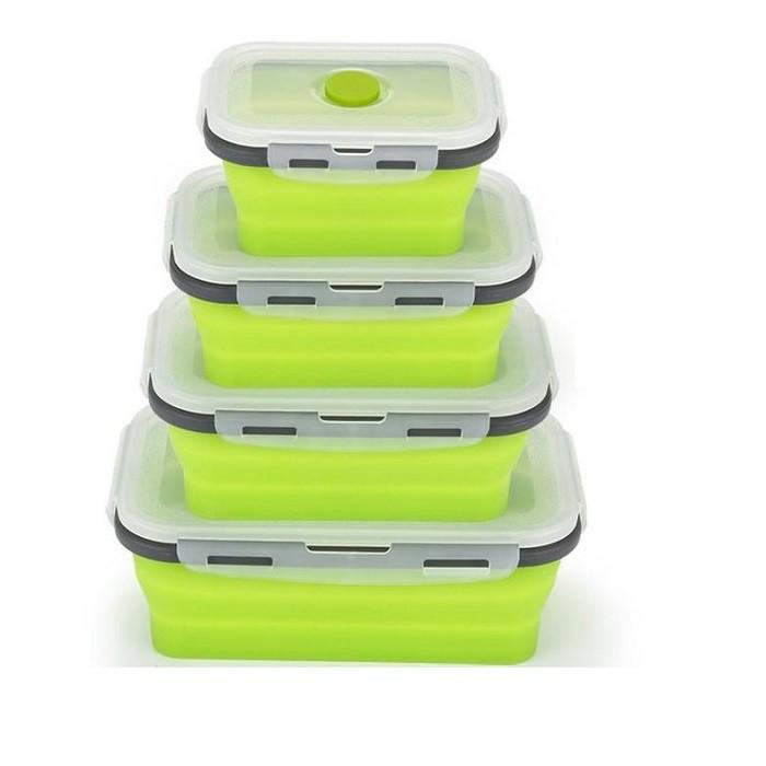 伸縮折疊矽膠飯盒【SG180】(4入) 野餐盒午餐盒便當盒耐高溫矽膠保鮮盒矽膠折疊飯盒 可伸縮食品級折疊矽膠飯盒XXXX