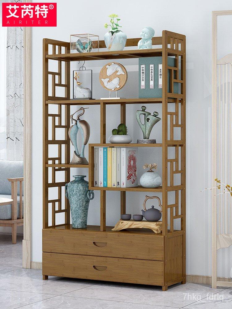 【熱銷】書架落地簡易客廳辦公室收納置物架實木簡約兒童桌上學生竹子書櫃