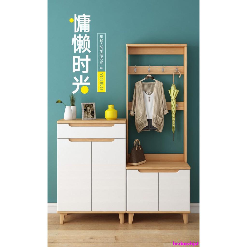 【簡約 鞋櫃】鞋柜帶掛衣架組合門口掛衣架帶鞋柜一體家用玄關柜衣帽架門廳鞋柜