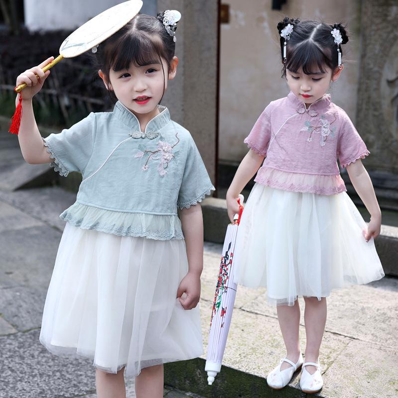 2021天使飛揚女童中大童夏款新款藤蔓紗裙短袖民族風19103