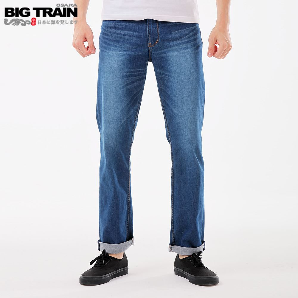 BIG TRAIN 舒適薄彈天絲棉直筒褲-中藍