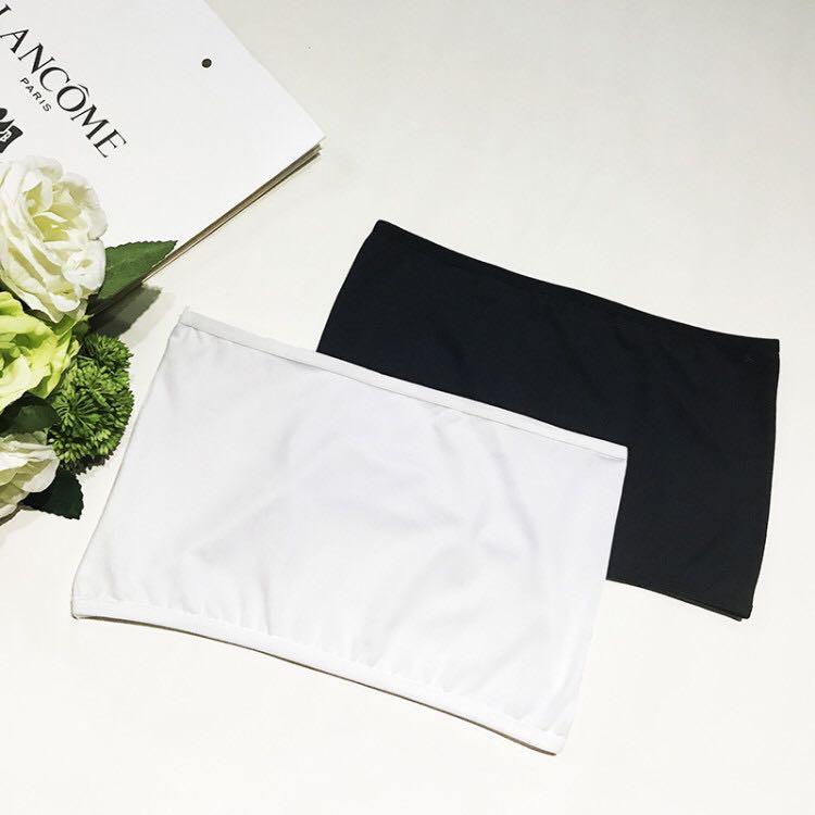 夏季白色一片式無肩帶露肩胸衣打底防走光抹胸短款黑色裹胸內衣女