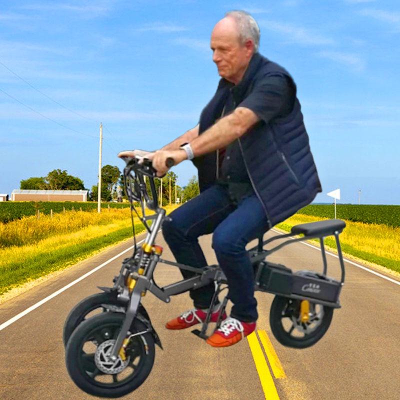 倒三輪折疊電動車折疊三輪電動車老年人三輪