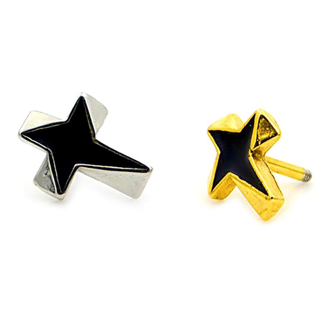 十字星紋耳環 鑄造 中性款 艾豆『B2890』