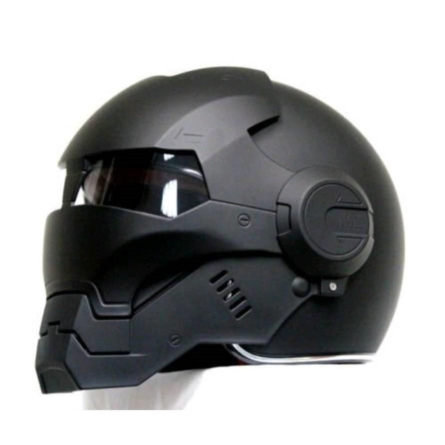 鋼鐵人安全帽 Iron Man Masei 610 面罩可掀 3/4安全帽 (消光黑)