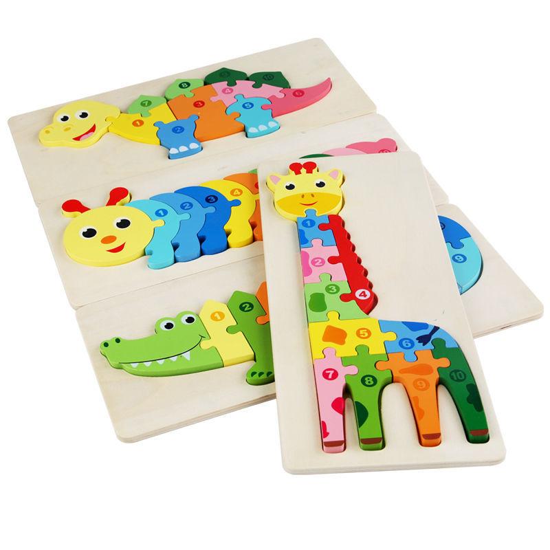 動物拼圖 大號立體拼圖 木製拼圖 兒童益智恐龍 創意拼板 早教積木 09