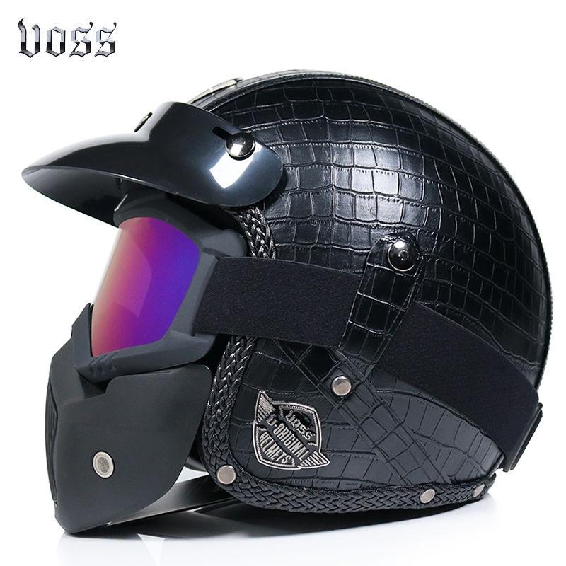 ✿騎行頭盔|安全帽✿VOSS哈雷頭盔電動車男女復古手工PU皮革頭盔3/4半盔四季