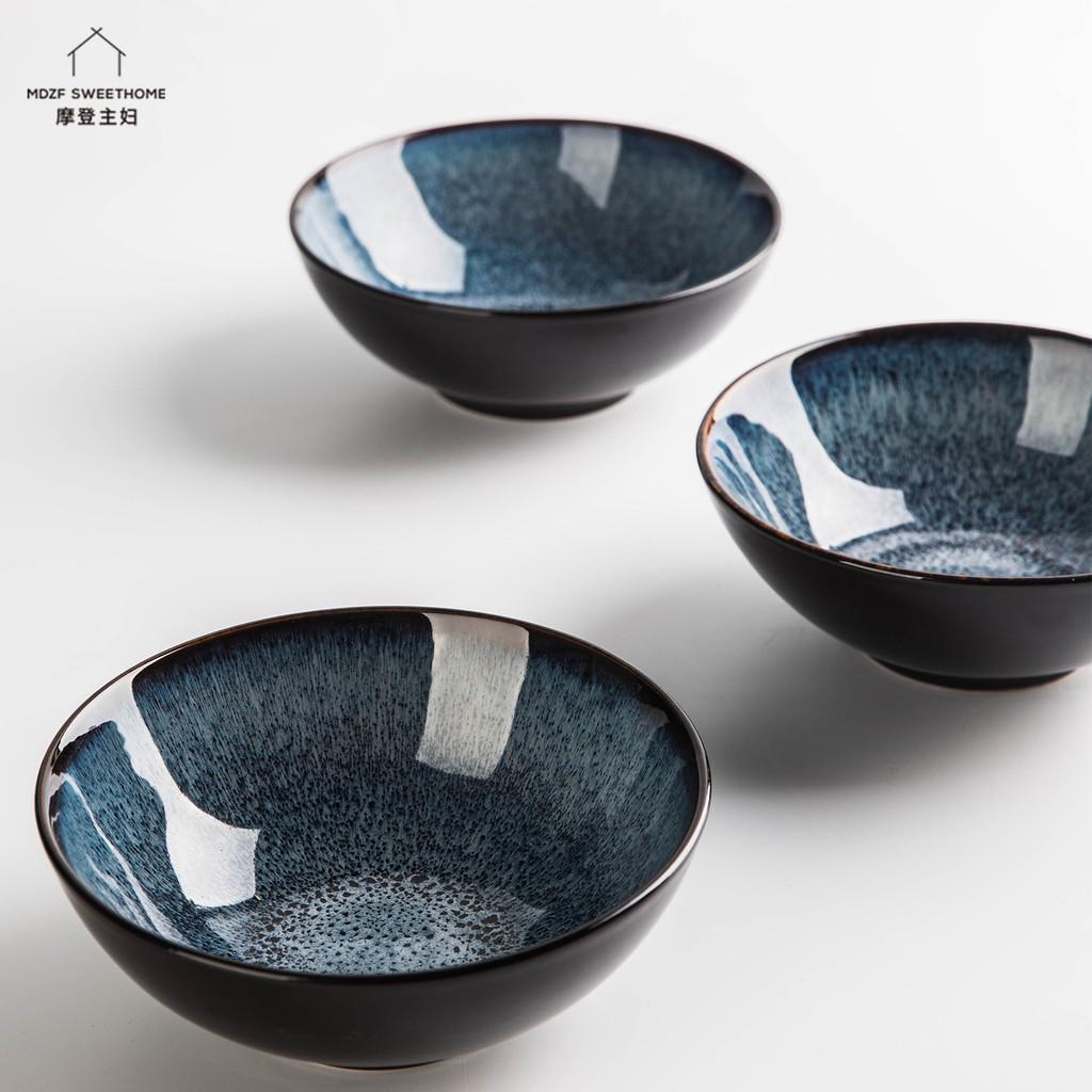 【現貨秒出】摩登主婦 歐式複古窯變釉陶瓷碗 家用餐具創意大號米飯碗湯碗面碗沙拉碗