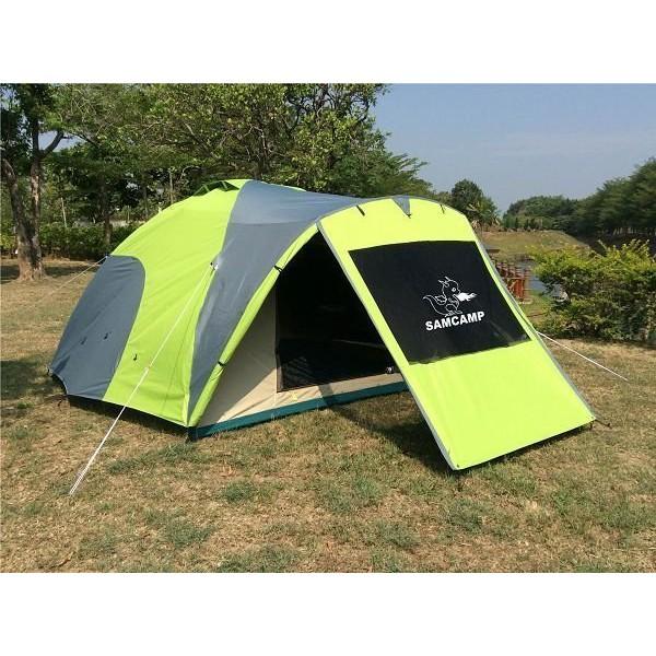 【SAMCAMP 噴火龍】超優品質㊣豪華6~8人雙門銀膠蒙古包帳篷(300型/外帳前庭設計)-外型類似LOGOS 300