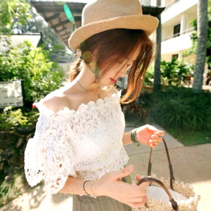 韓版一字領顯瘦蕾絲短版上衣