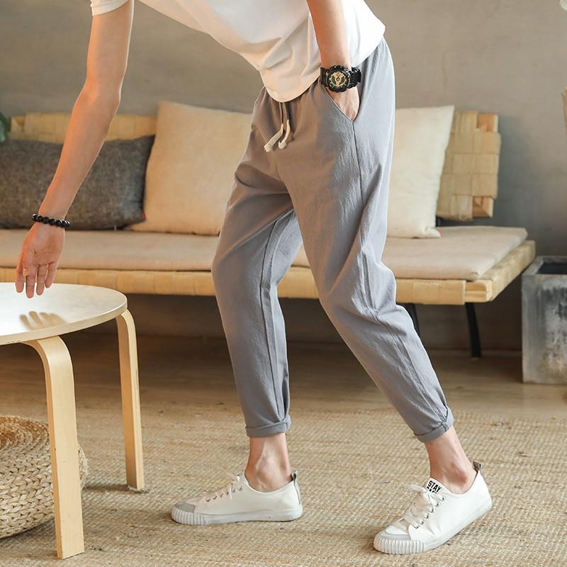 【HOT 本舖】M-5XL 褲子 錐形褲 男士夏季修身棉麻九分褲 薄款 哈倫小腳褲 休閒男褲 純色 簡約百搭 男生衣著