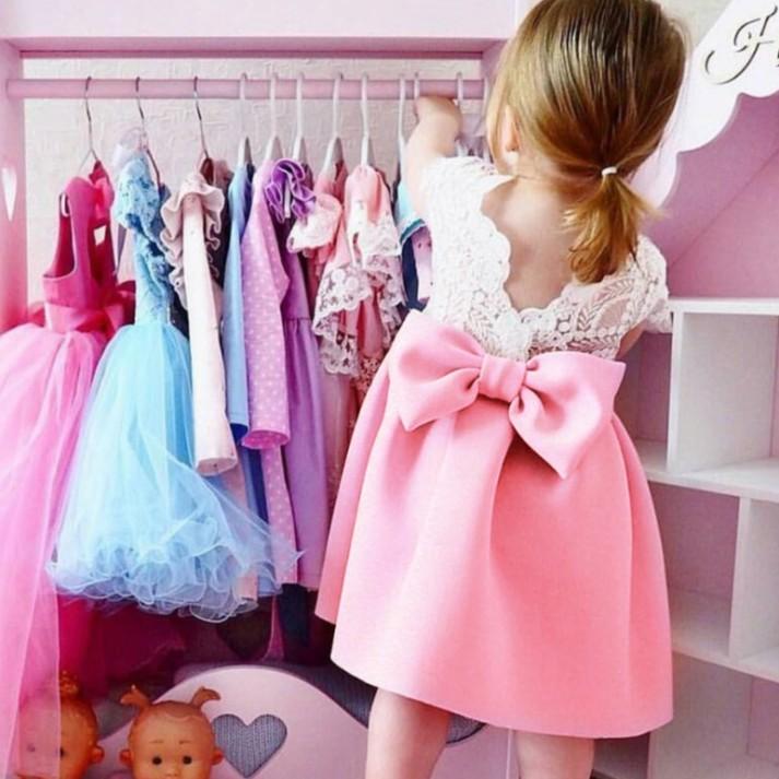女童甜美蕾絲露背荷葉邊連衣裙 短袖洋裝 女童洋裝 寶寶洋裝 小童洋裝 嬰幼兒洋裝【蘋果小舖】La 2003 A75