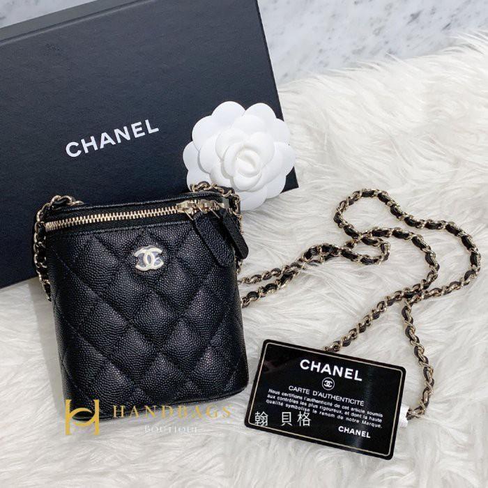 【舶來品】全新真品 Chanel VIP 爆款 黑色 荔枝紋 金鍊 小盒子 拉鍊 斜背 小廢包 AP1466 現貨