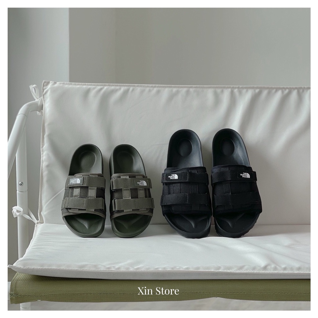 Xin Store🔹The North Face TNF Woven Slide 北臉 工裝 魔鬼氈 拖鞋 黑 軍綠