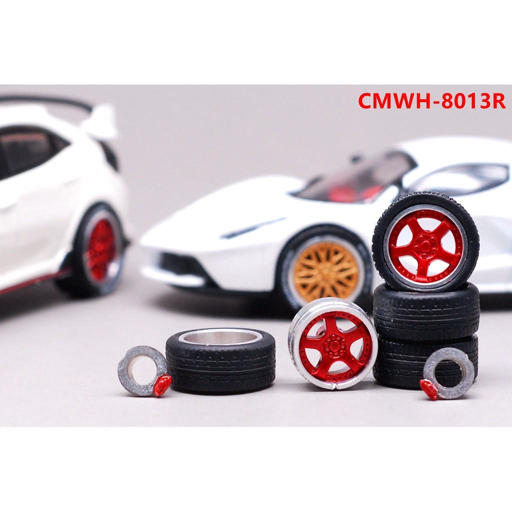 ??EHC Model??1:64合金汽車模型改裝配件 11mm 金屬輪轂 橡膠輪胎 金色 銀色 13/14