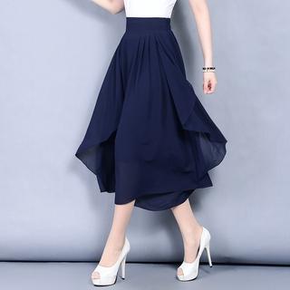 2021夏新款雪紡裙褲女夏闊腿褲七分褲子薄款韓版高腰寬鬆休閒褲大碼7分褲裙