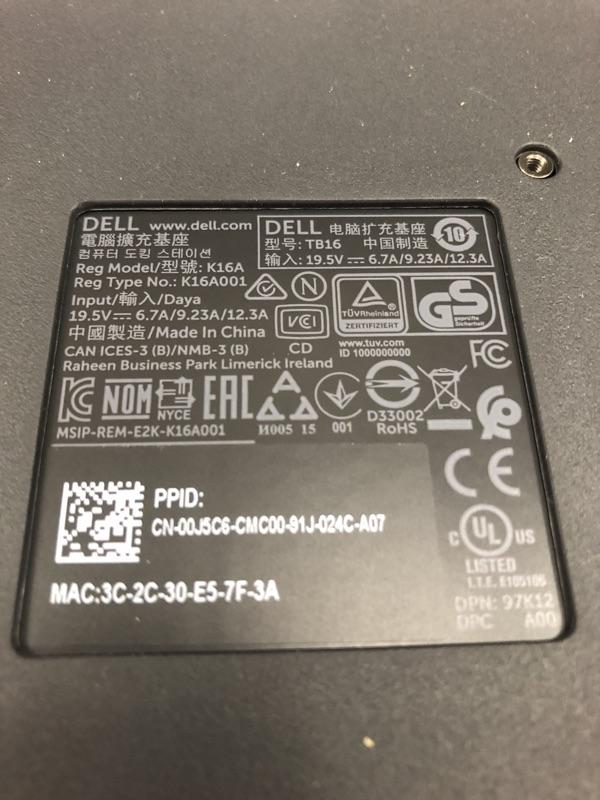 Dell TB16 Thunderbolt 3 Dock 底座 K16A