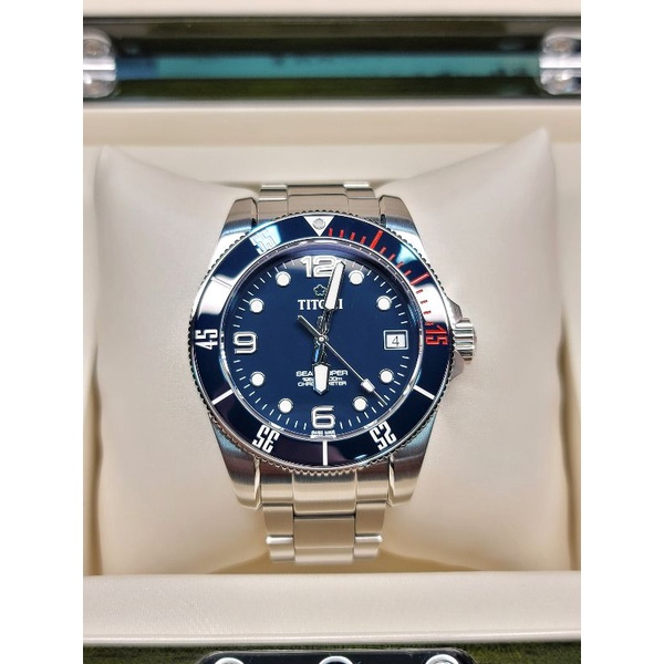 梅花Titoni Seascoper 600潛水錶 藍面
