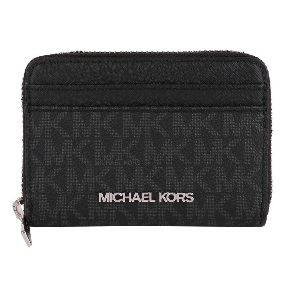 MICHAEL KORS-銀字滿版防刮皮革卡片夾包(黑灰)