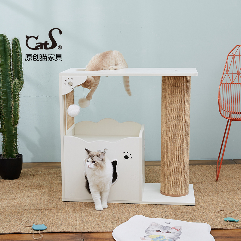CatS貓家具兩層木製貓爬架 貓屋劍麻貓抓柱H3b 送全套墊 包郵 寵愛一家