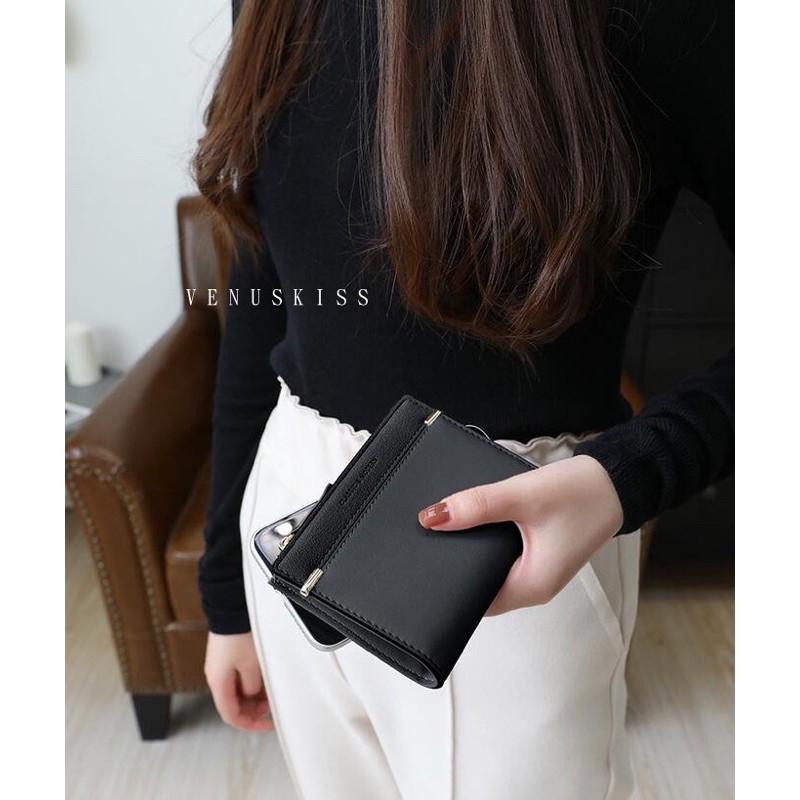 黑現貨自創品牌包包 - 時尚簡約優雅金屬飾拉鍊對摺短夾錢包