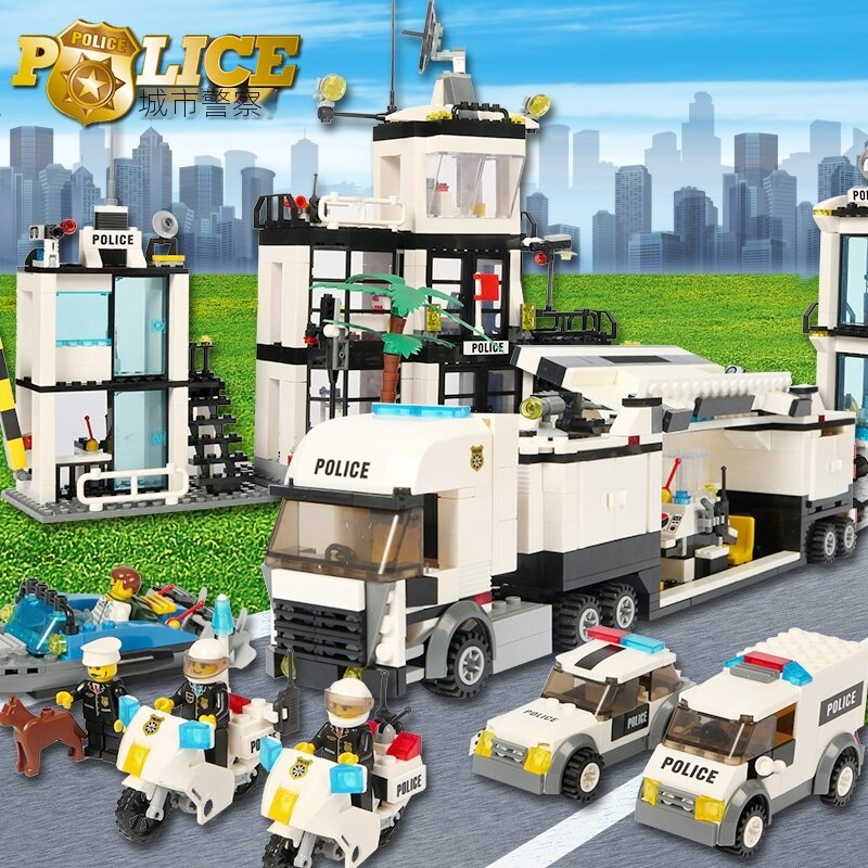 男孩 拼插 益智 城市系列 海上警察局 特警戰車 樂高拼裝積木  拼圖玩具