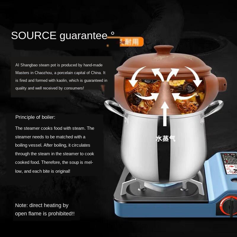 汽鍋雞汽鍋家用陶瓷加厚云南建水商用紫陶小氣鍋燉鍋砂鍋大容量