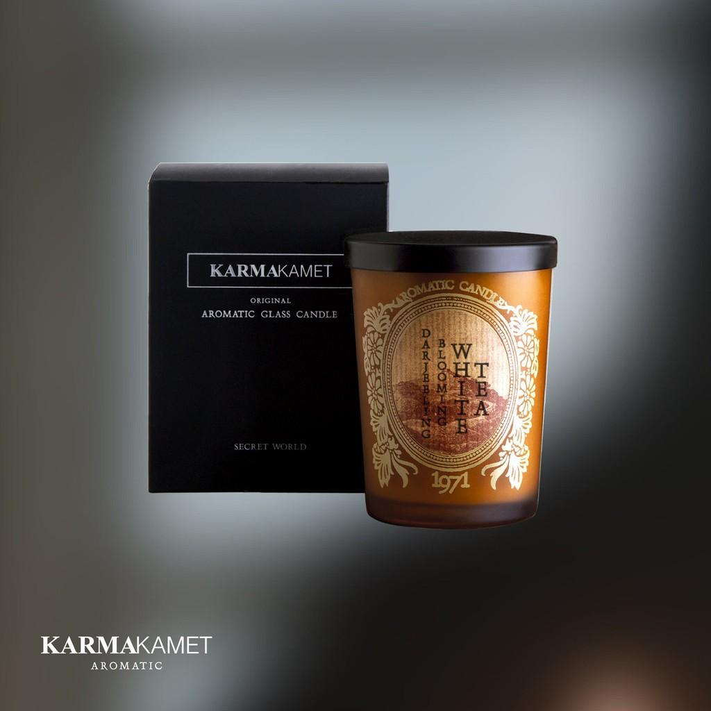 Thai愛買  泰國 Karmakamet 玻璃香氛蠟燭 大吉嶺盛開白茶