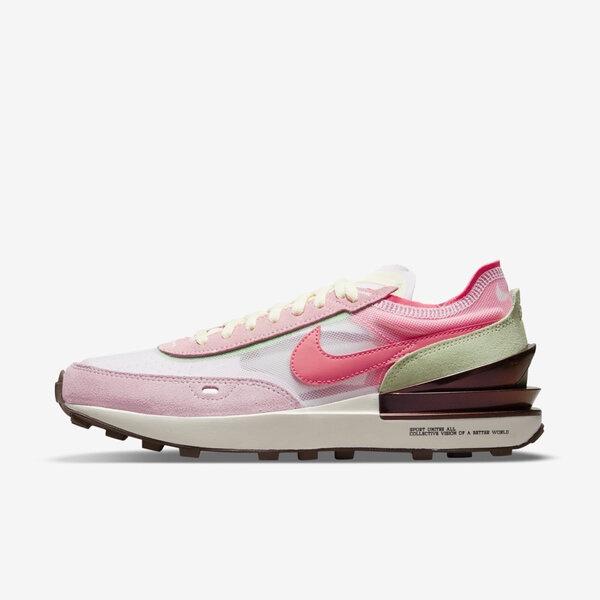 Nike Wmns Waffle One [DM5452-161] 女鞋 運動 舒適 小SACAI 麂皮 球鞋穿搭 粉白