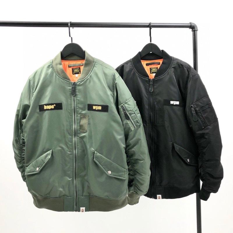 日本bathing ape秋冬20AW新款BAPE衫背猿人頭ALPHA款式空軍装飛機師MA1拉鏈棉衣外套風衣黑色綠色