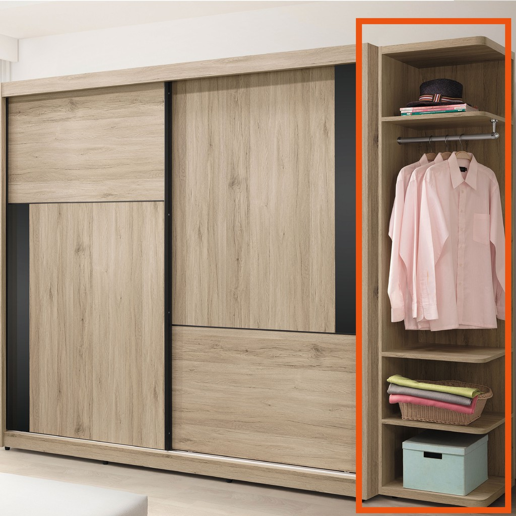 【46cm開放衣櫃-B26-02】木心板 推門滑門開門 衣服收納 免組裝【金滿屋】