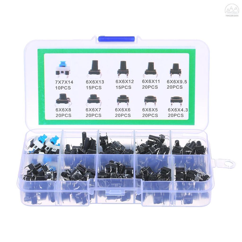 180pcs 觸覺按鈕開關微瞬時計分類套件 10 值 6 X 6mm 4 針微型開關