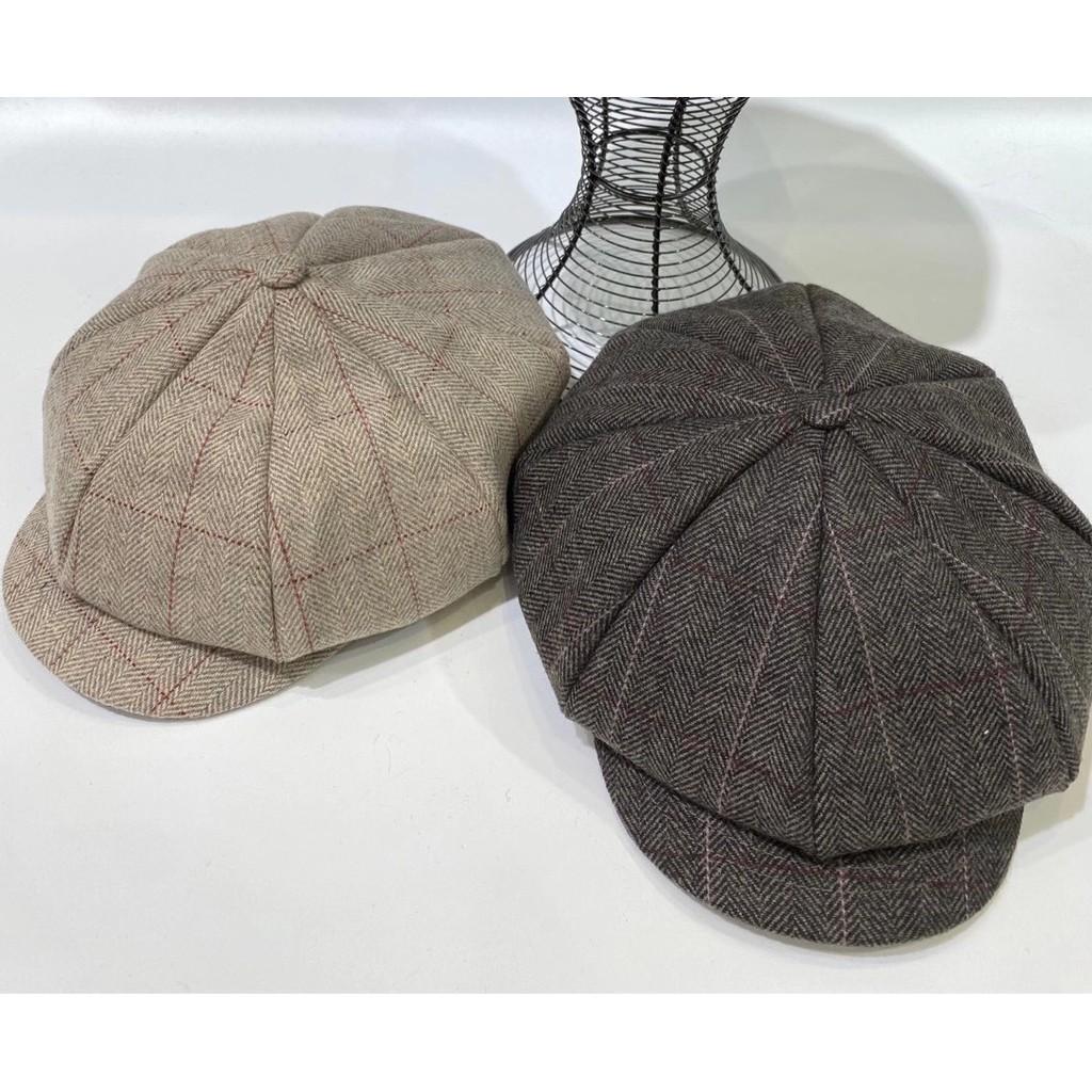 韓國人字格紋毛呢八角帽 格子報童帽 貝蕾帽 帽子 畫家帽 毛呢報童帽 顯瘦帽 配件 GRASS 現貨 [F182]