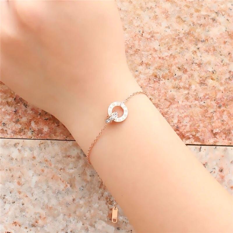 韓版鍍18K玫瑰金羅馬字母雙環手鍊