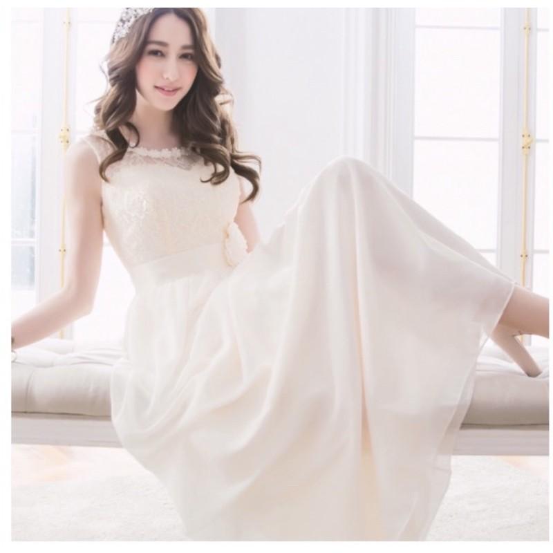 二手近全新『露比午茶』花朵蕾絲無袖長禮服洋裝/輕婚紗/馬甲設計
