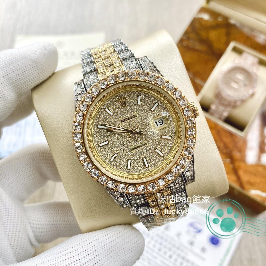 【實物拍攝】Rolex 勞力士 滿天星日誌系列全鑲鑽款石英機芯手錶 男士高端商務錶 土豪金手錶 白金滿鑽腕錶 男女同款