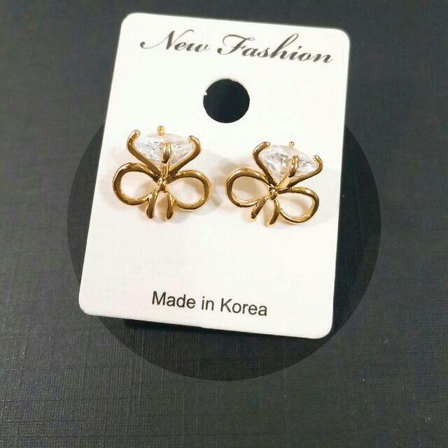 韓國鑲鑽蝴蝶結耳釘 耳環