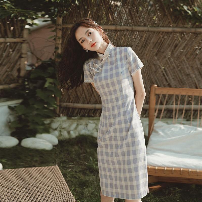 格子旗袍女中國風改良版連衣裙年輕款少女清新學生復古民國