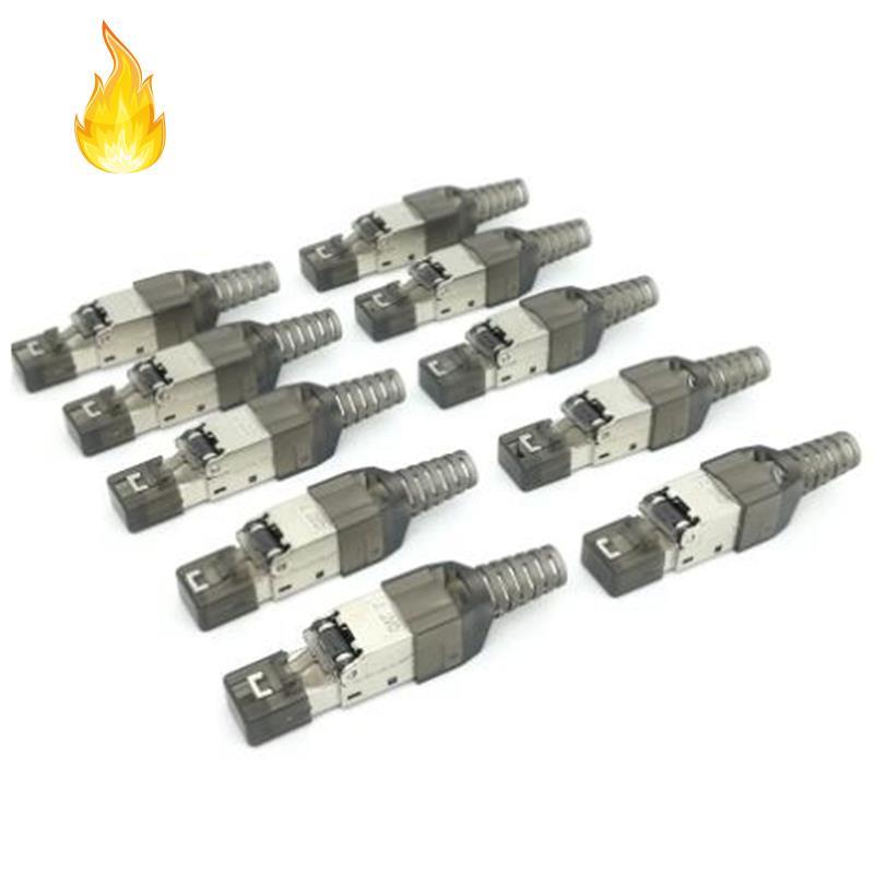 Cat7 Rj45連接器以太網插頭適配器免工具壓接屏蔽水晶頭8P8C 10GB網絡以太網電纜插頭