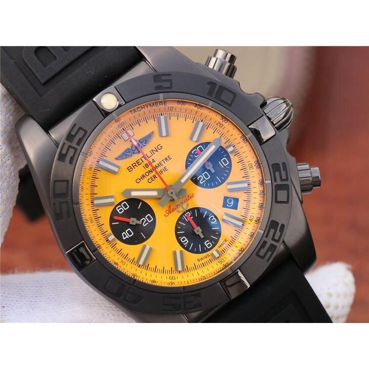 Breitling 百年靈 計時系列 黑鋼黃盤全自動機械腕錶 男士腕錶  免運