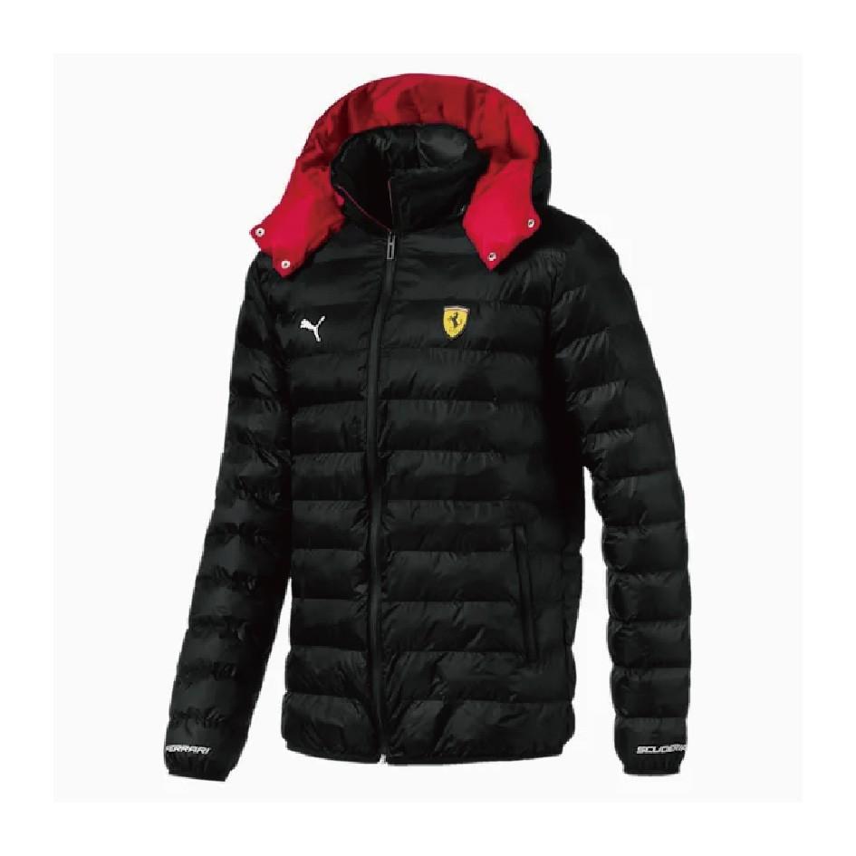 Puma 法拉利 車迷系列 SF 可摺收鋪棉連帽外套 59542402 黑紅色 歐規 男